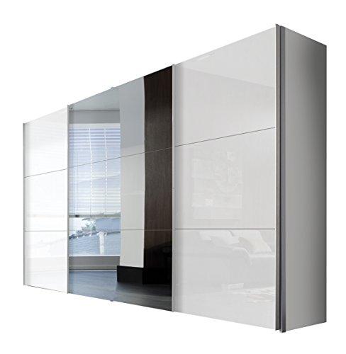Express Möbel Schwebetürenschrank 3-türig mit Spiegel, Weiß Lack, Korpus Polarweiß, BxHxT 350x216x68 cm, Art Nr. 45350-203