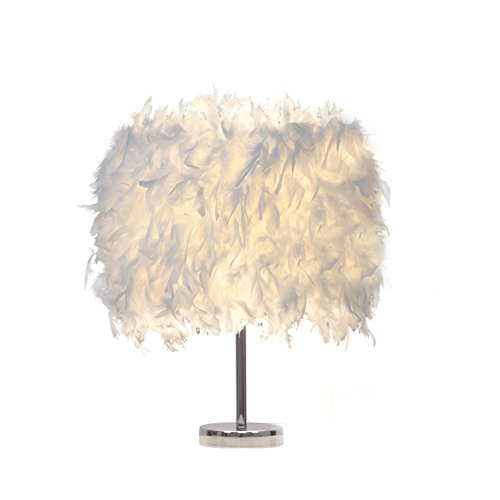 Federn Tischlampe,Deko Licht mit Pure Weiße Feder Retro Lampe Für Zuhause,Hotel,Schlafzimmer,Halle,Esszimmer,Einzigartig Beleuchtung Dekoratives,Tischleuchte Vintage