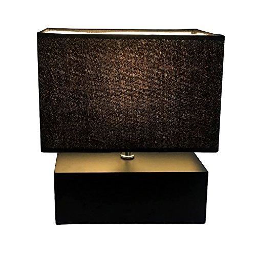 Holz Tischlampe, Nachttischlampe mit Rechteckigem Holzfuß, Sanftem Licht, Tischleuchte mit Schirm aus Samt - Schwarz