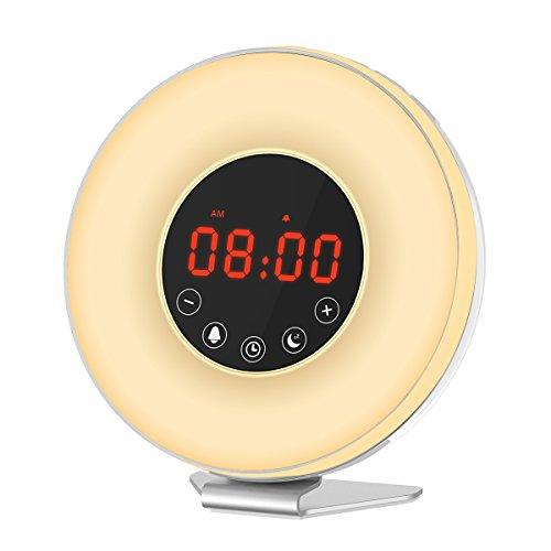Honxee Wake Up Licht, Lichtwecker Wecker, Schlafhilfe Nachtlicht mit Farbige LED Lichter / Alarm Töne / Helligkeitsstufen / Sonnenaufgang Simulation für ein natürliches Erwachen