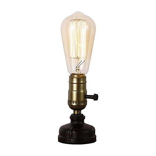 Injuicy Vintage Metall E27 Eisen Wasser Rohr Schreibtischlampen Antiken Retro Steampunk Led Tischlampe Schreibtisch Licht Tisch Glühbirnen für Schlafzimmer Wohnzimmer Balkon Nachttisch mit Schalter