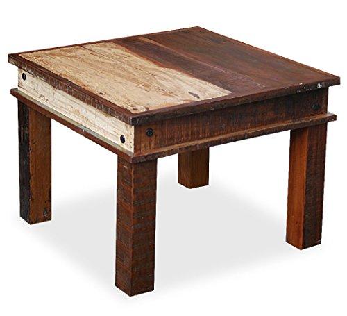 """KMH®, Couchtisch / Beistelltisch """"Rustic"""" im Shabby Chic / Vintage Style 60 x 60 cm aus recyceltem Sheeshamholz gefertigt (#202216)"""