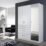 Kleiderschrank 3 Türen B 136 cm Hochglanz weiß Schrank Drehtürenschrank Wäscheschrank Kinderzimmer Jugendzimmer Schlafzimmer
