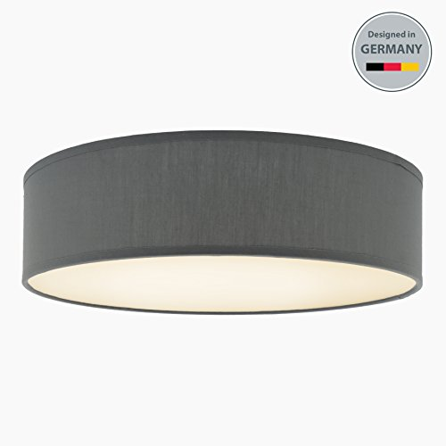 LED Deckenlampe Stoff grau rund