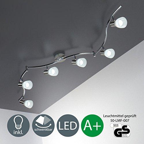 LED Deckenleuchte I 6 flammiger Deckenstrahler I Schlafzimmer-Lampe I schwenkbar I inkl. 6 x 5 W Leuchtmittel I bewegliche Decken-Spots I Deckenlampe für Wohnzimmer, Küche, Flur etc. I E14 Lampenfassung I 230 V I IP20