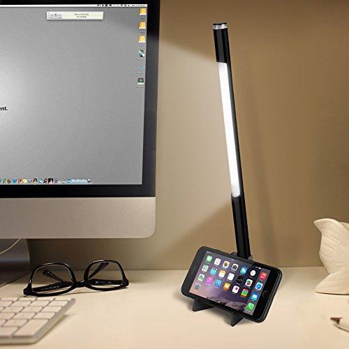 LED Schreibtischlampe, Yissvic Dimmbare LED Tischlampe USB Wiederaufladbare Nachttischlampe 4.5W Tischleuchte 3 Farbtemperatur für Studie Büro Schlafzimmer Camping