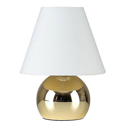 MiniSun – Moderne und Touch-Me 'Mojo' Tischleuchte im runden Designerstil mit einem glänzigen Finish und einem kegelförmigen und cremefarbigen Lampenschirm – Touch-Me Tischlampe