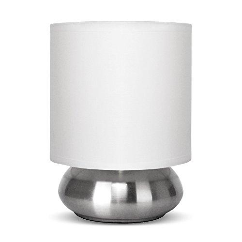 MiniSun – Runde Touch-Me Tischlampe mit verchromtem Finish und einem weißen Lampenschirm
