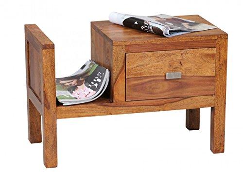 Nachtschrank, Nachttisch, Nachttkommode mit Schulbade mit Zeitungsablage aus Massivholz Sheesham; Maße (B/T/H) in cm: 60 x 30 x 40