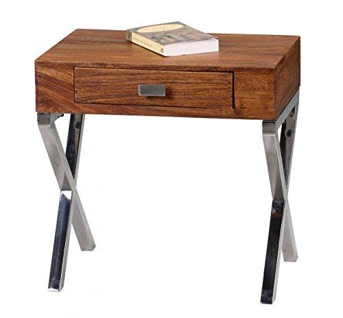 Nachttisch GUNA Massiv-Holz Sheesham Nacht-Kommode 45 cm 1 Schublade Metallbeine Nachtschrank Landhaus Echt-Holz