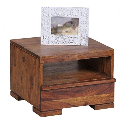 Nachttisch MUMBAI Massiv-Holz Sheesham Nacht-Kommode 30 cm 1 Schublade Ablage Nachtschrank Landhaus-Stil Echt-Holz