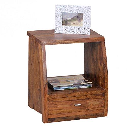 Nachttisch MUMBAI Massiv-Holz Sheesham Nacht-Kommode 53 cm 1 Schublade Ablage Nachtschrank Landhaus-Stil Echt-Holz