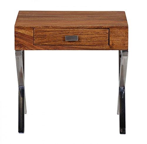 Nachttisch, Nachtkommode, Nachschrank mit Schublade aus Massivholz Sheesham; Maße (B/T/H) in cm: 45 x 50 x 45