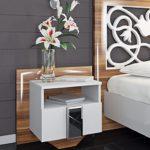 Nachttisch Nako Nachtkonsole 65242 Nachtkommode 55cm weiß / weiß - birne hochglanz
