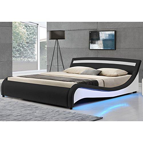Polsterbett Malaga 140 x 200 cm mit LED Seitenteilen - schwarz   ArtLife