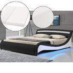 Polsterbett Malaga 180 x 200 cm LED Seitenteilen - schwarz mit Kaltschaummatratze | ArtLife