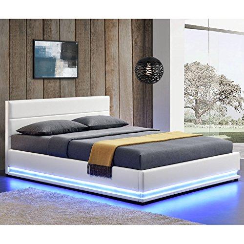 Polsterbett Toulouse 180 x 200 cm mit rundum LED und Bettkasten - weiß