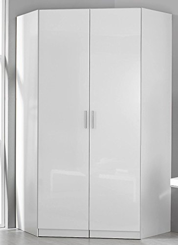Rauch Eck-Kleiderschrank Celle alpinweiß/Hochglanz weiß 117 x 117 cm