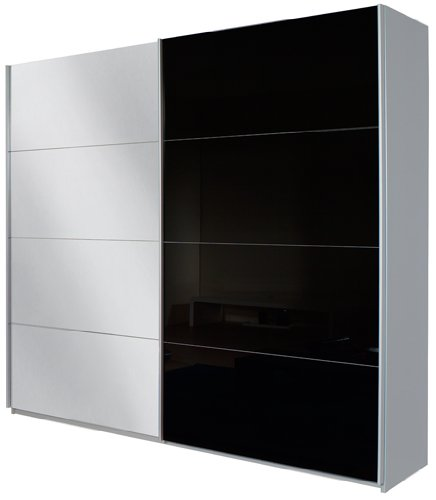 Rauch Schwebetürenschrank Quadra / 2-türig / 1 Spiegeltüre  / Korpus: grau-metallic/Front: Glas schwarz / spiegel