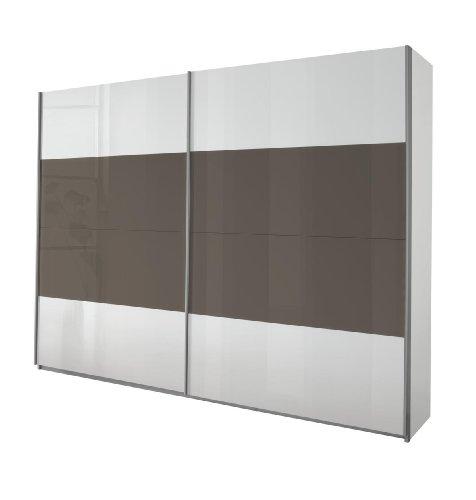 Rauch Schwebetürenschrank Quadra, 2-türig, 210 x 62 cm, Korpus, Front alpinweiß, Absetzungen Hochglanz lavagrau