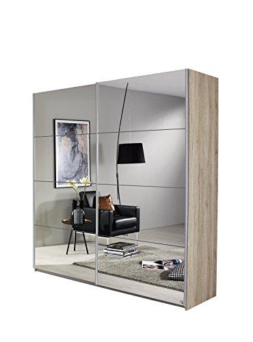Rauch Schwebetürenschrank mit Spiegelfront 2-türig, Korpus Eiche San Remo, BxHxT 136x197x61 cm