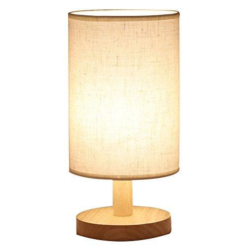 Schreibtischlampe, HQOON LED Holz Tischlampe, Runde USB-Stecker Schlafzimmer Nachttischlampe, Massiv holz und Stoffschirm Entspannende Beleuchtung Atmosphärenlampe für Kinder, Modernes Leben Zimmer
