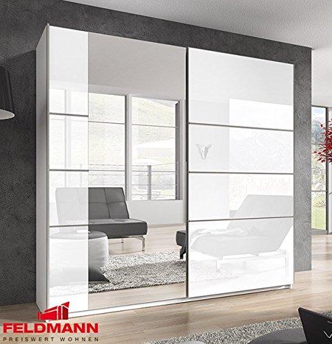 Schwebetürenschrank Kleiderschrank 54555 weiß Hochglanz Spiegel 200cm