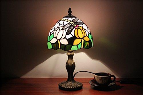 TOYM-8-Zoll-europäischen Stil Garten kleine Tischlampe Schlafzimmer Nachttischlampe bar Fensterglaslampe Tiffany Libelle Lampe