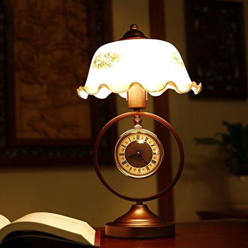 Tischlampe Schreibtischlampe Wohnzimmer Schlafzimm Retro Tischlampe Nostalgie mit Uhren chinesischen Tischlampe Schlafzimmer Nacht Studie Ländliche Pastoral amerikanische Lampen Schreibtischlampe YANGFF-Nachttischlampen