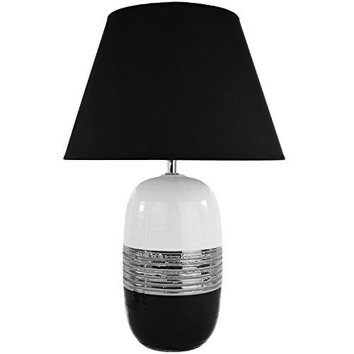 Tischlampe aus Keramik weiß schwarz silber Tischleuchte H:44,5 cm Lampe Leuchte Nachttischlampe Leselampe Stehlampe Nachttisch