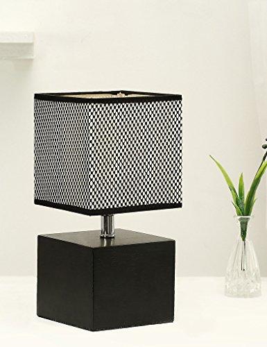 Tischlampe mit Stabilem Holzfuß,Hompen Nachttischlampe mit Ein-/Ausschalter