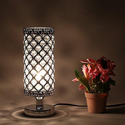 Tomshine Tischleuchte Holz, Nachttischlampe, Tischlampe, Stoff Lampenschirm für Wohnzimmer,Schlafzimmer,Büro(Ohne Birne)
