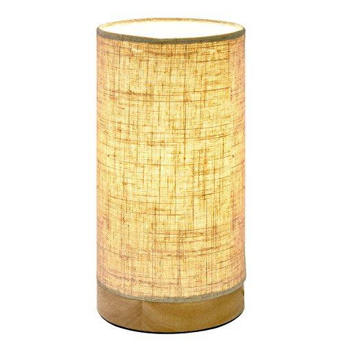 Viugreum Holz Tischlampe Nachttischlampe Atmosphärenlampe Schreibtischlampe Massiv holz und Stoffschirm für Schlafzimmer Wohnzimmer, Babyzimmer,Studentenwohnheim