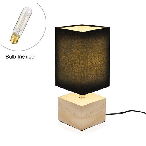 Viugreum Nachttischlampe Schreibtischlampe Atmosphärelapen aus Massivholz gemachtem Lampenfuß und Stofflampenschirm, ideale Beleuchtung für Schlafzimmer, Wohnzimmer, Bettschrank,Kaffeetisch