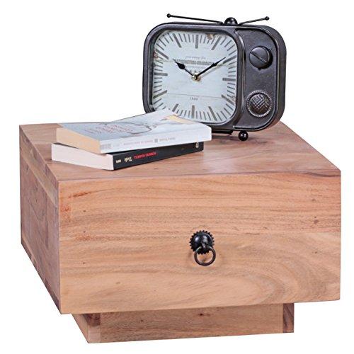 WOHNLING Nachttisch Massiv-Holz Design Nacht-Kommode 25 cm hoch mit Schublade Nachtschrank Natur-Holz 40 x 40 cm Nachtkästchen dunkel-braun Deko Nachtkonsole Landhaus-Stil Schlafzimmer-Möbel