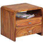 WOHNLING Nachttisch Massiv-Holz Sheesham Nacht-Kommode 44,5 cm hoch 2 Schubladen Nachtschrank Echt-Holz Landhaus-Stil Nachtköstchen dunkel-braun Deko Nachtkonsole Natur-Produkt Schlafzimmer-Möbel