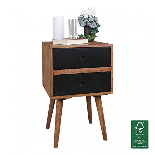WOHNLING Retro Nachtkonsole REPA / Sheesham-Holz Nachttisch mit 2 Schubladen dunkelbraun   Design Nachtkästchen 40 x 35 x 55 cm   Kleines Nachtschränkchen