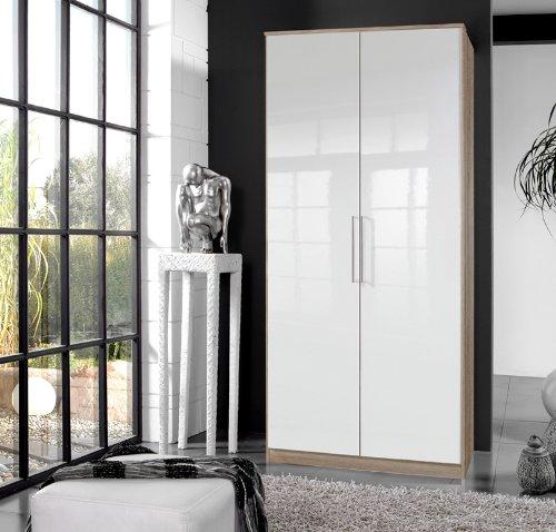 Wimex Kleiderschrank 111202 Gamma, Lack weiß + Eiche sägerau, Breite 90 cm, »BERLIN«