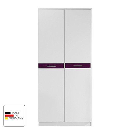 Wimex Kleiderschrank 367179 Gina, Weiß, Abs. Hochglanz Brombeer, 90 cm Breite, Gianna