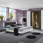 Dreams4Home Schlafzimmerkombination 'Cult III', Schlafzimmer, weiß, anthrazit, Kleiderschrank, Bett, Konsolen, Schlafzimmer