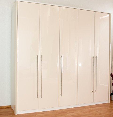 Drehtürenschrank / Kleiderschrank Lepa 27, Farbe: Weiß / Creme Hochglanz - Abmessungen: 225 x 233 x 58 cm (H x B x T)