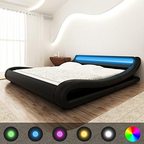 Festnight Bett Holzbett Kunstlederpolsterung Bettgestell Bettrahmen Doppelbett mit LED-Streifen und 140x200cm Memory-Matratze Curl schwarz