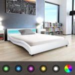 Festnight Bett Kunstlederpolsterung Bettrahmen Doppelbett Gästebett mit LED-Streifen und 140x200cm Memory-Matratze Weiß