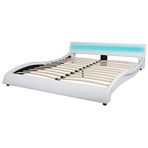 Festnight Bettrahmen Bettgestell Kunstlederbett Bett mit LED-Streifen am Kopfteil Doppelbett Kunstlederpolsterung Weiß