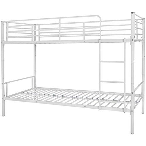 Festnight Kinder Etagenbett Metall Bettrahmen Kinderbett Stockbett 208x96x150cm Metallbett Geeignet für Matratzengröße 200x90cm - Weiß