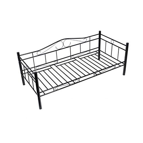 Festnight Metallbett Einzelbett mit Lattenrost für 90 x 200 cm Matratze