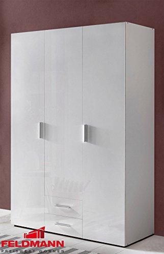 Kleiderschrank 805289 Schrank Malta weiß / weiß Hochglanz 120cm 3-türig