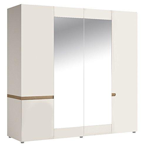 P & N Homewares® Solna Kleiderschrank, 4Türen in weiß hochglanz und Eiche Finish mit Spiegel und Ablagen Innen | Schlafzimmer Möbel | modernes Skandinavisches Design | Solna Möbelserie