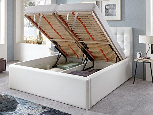 Polsterbett Bett mit Bettkasten Weiß Molly Lattenrost Doppelbett Kunstleder