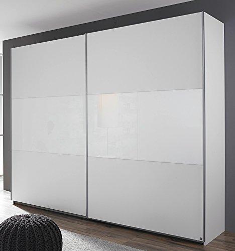 Rauch Schwebetürenschrank 2-türig alpinweiß/Glas weiß 218 x 210 x 59 cm